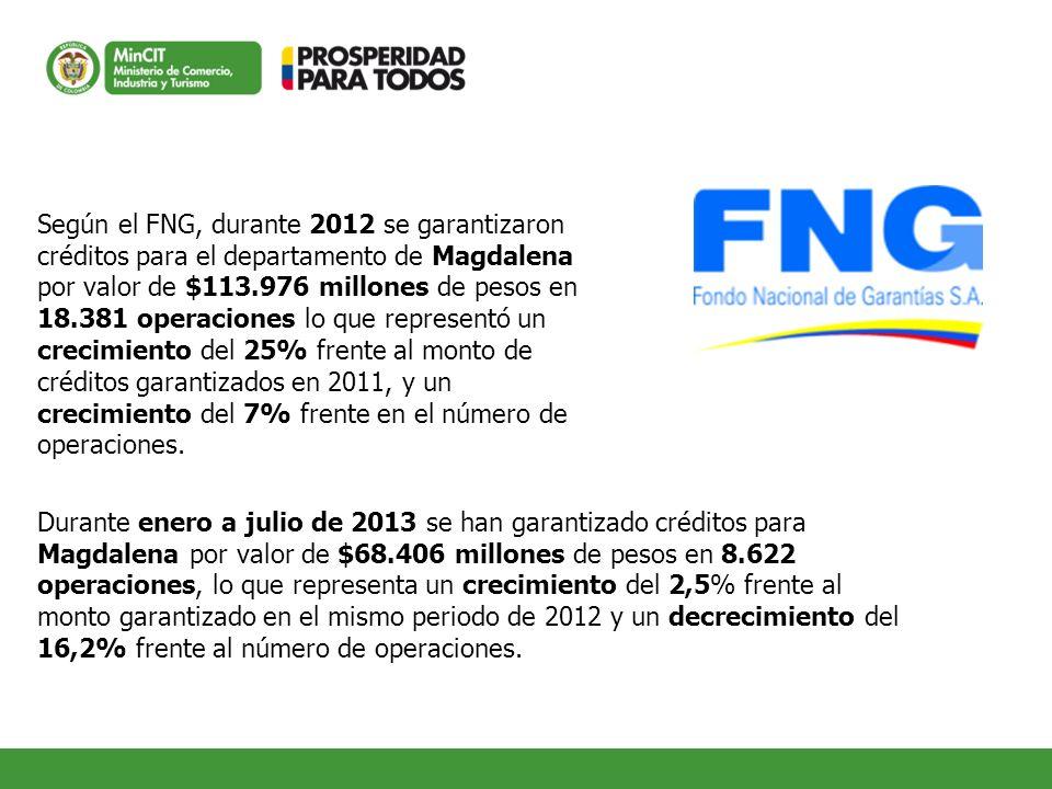 Según el FNG, durante 2012 se garantizaron créditos para el departamento de Magdalena por valor de $113.976 millones de pesos en 18.381 operaciones lo que representó un crecimiento del 25% frente al monto de créditos garantizados en 2011, y un crecimiento del 7% frente en el número de operaciones.