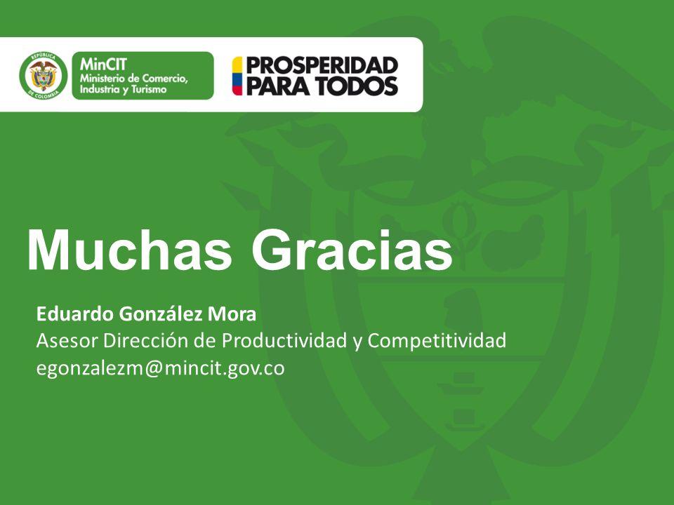 Muchas Gracias Eduardo González Mora Asesor Dirección de Productividad y Competitividad egonzalezm@mincit.gov.co.