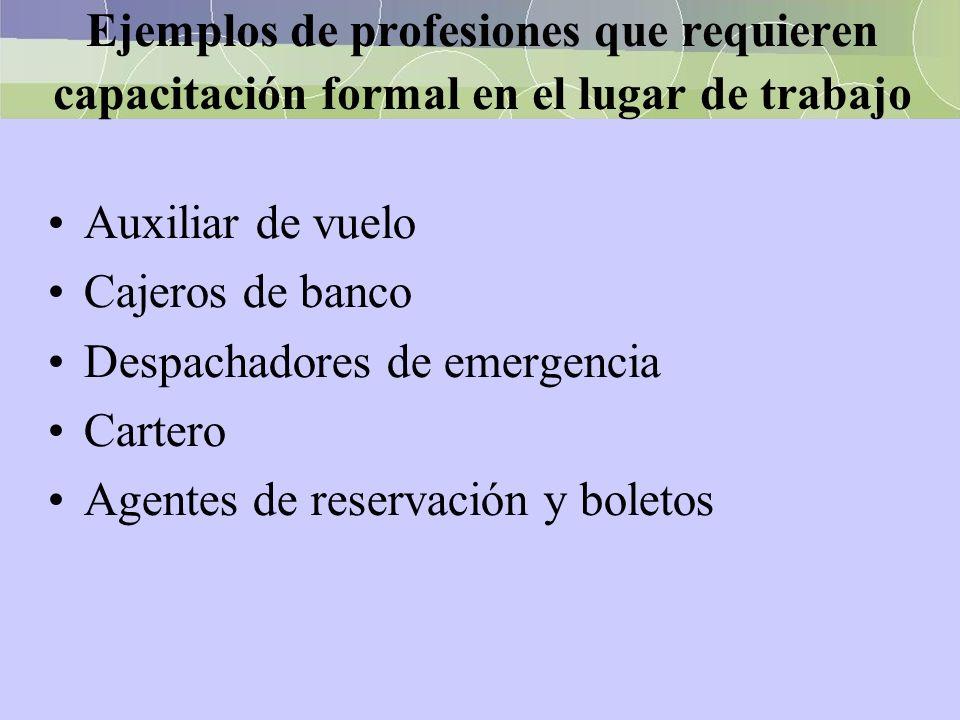 Ejemplos de profesiones que requieren capacitación formal en el lugar de trabajo