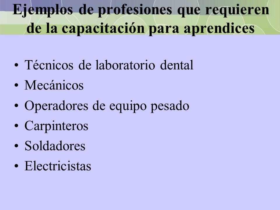 Ejemplos de profesiones que requieren de la capacitación para aprendices