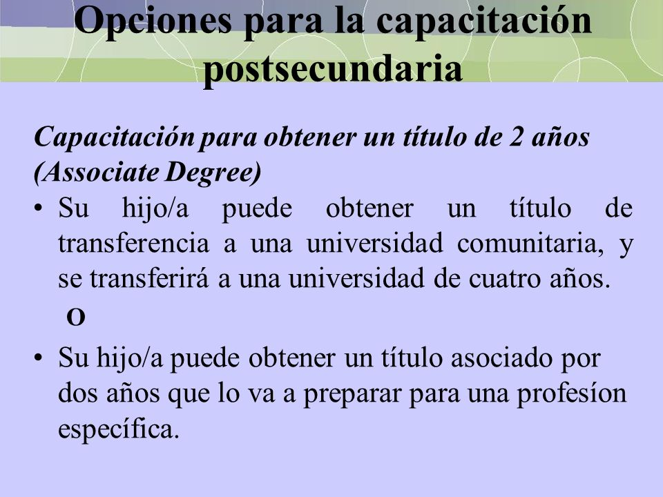 Opciones para la capacitación postsecundaria