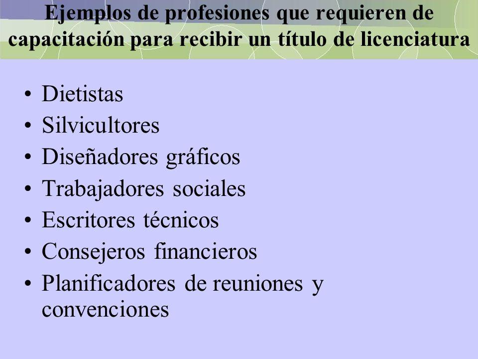 Trabajadores sociales Escritores técnicos Consejeros financieros