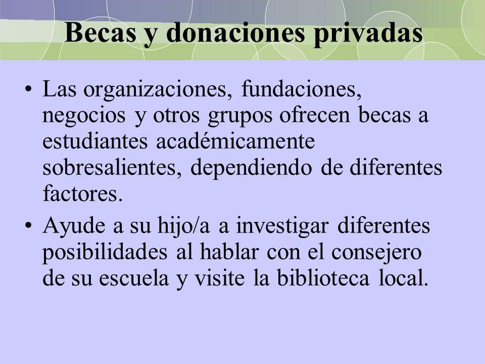 Becas y donaciones privadas