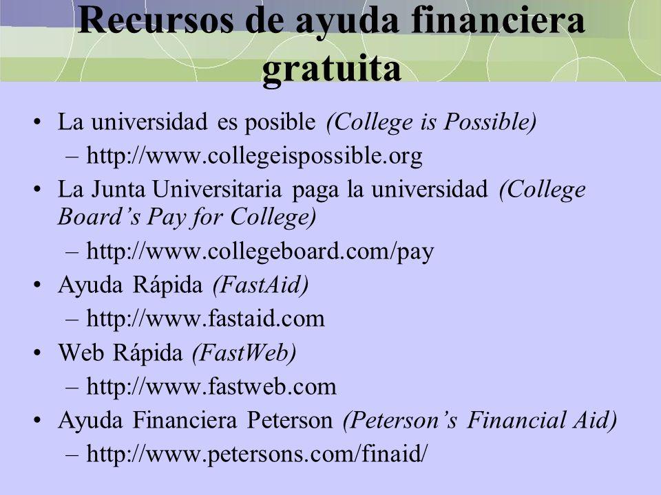 Recursos de ayuda financiera gratuita