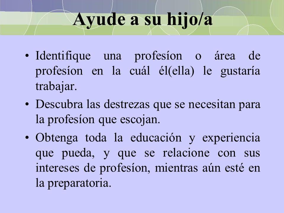 Ayude a su hijo/a Identifique una profesíon o área de profesíon en la cuál él(ella) le gustaría trabajar.