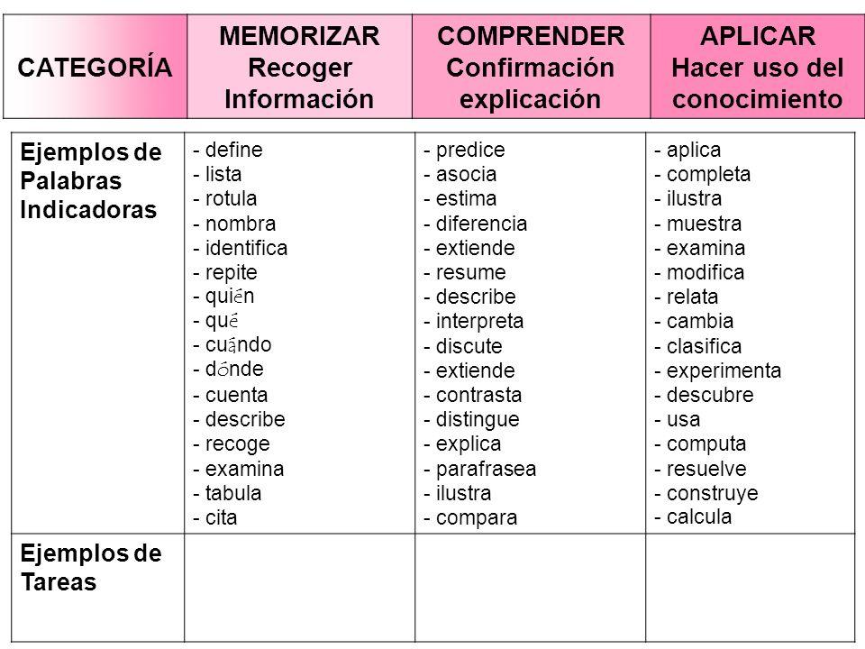 MEMORIZAR Recoger Información COMPRENDER Confirmación explicación