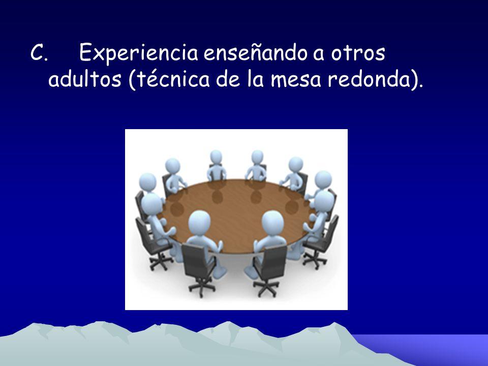 C. Experiencia enseñando a otros adultos (técnica de la mesa redonda).