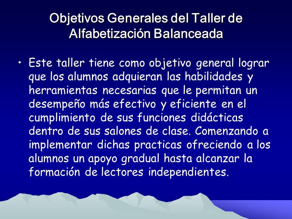 Objetivos Generales del Taller de Alfabetización Balanceada
