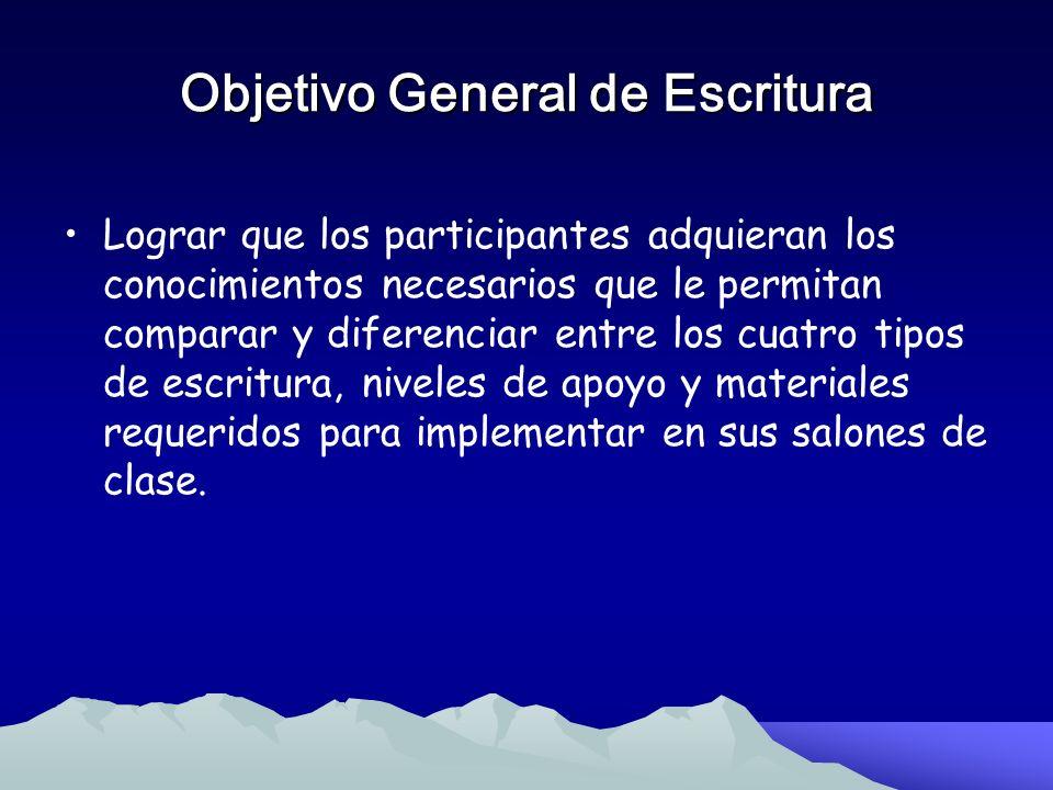 Objetivo General de Escritura
