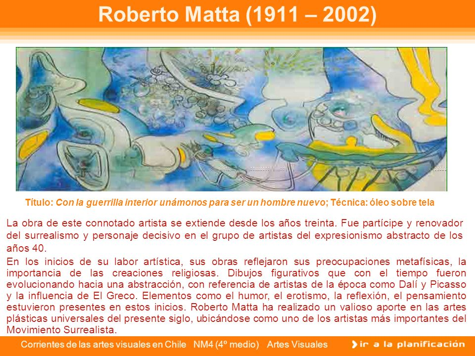 Roberto Matta (1911 – 2002) Título: Con la guerrilla interior unámonos para ser un hombre nuevo; Técnica: óleo sobre tela.