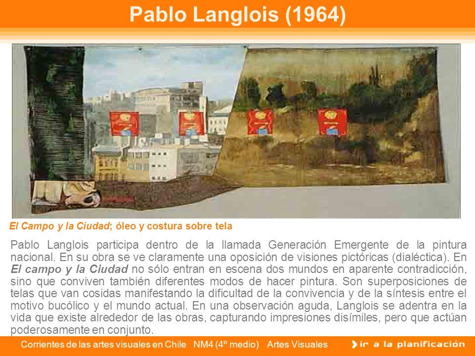 Pablo Langlois (1964) El Campo y la Ciudad; óleo y costura sobre tela.