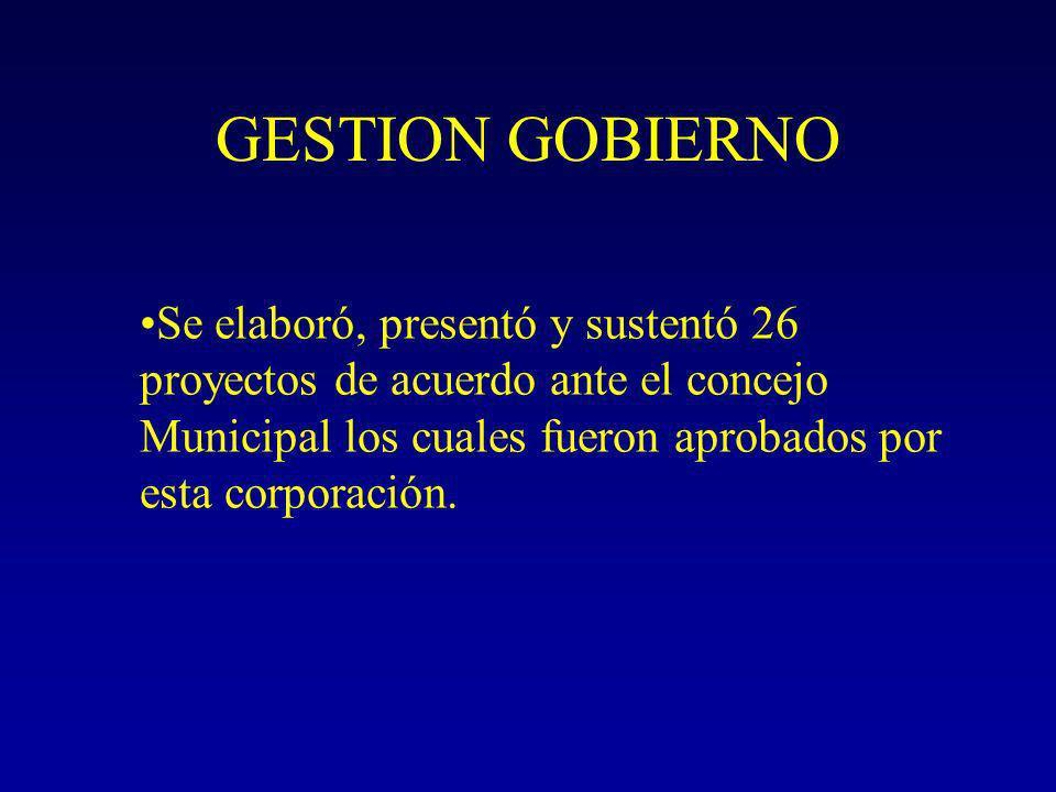 GESTION GOBIERNO Se elaboró, presentó y sustentó 26 proyectos de acuerdo ante el concejo Municipal los cuales fueron aprobados por esta corporación.