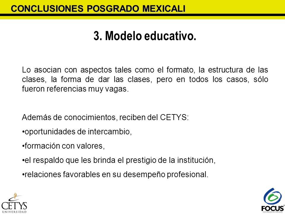 3. Modelo educativo. CONCLUSIONES POSGRADO MEXICALI