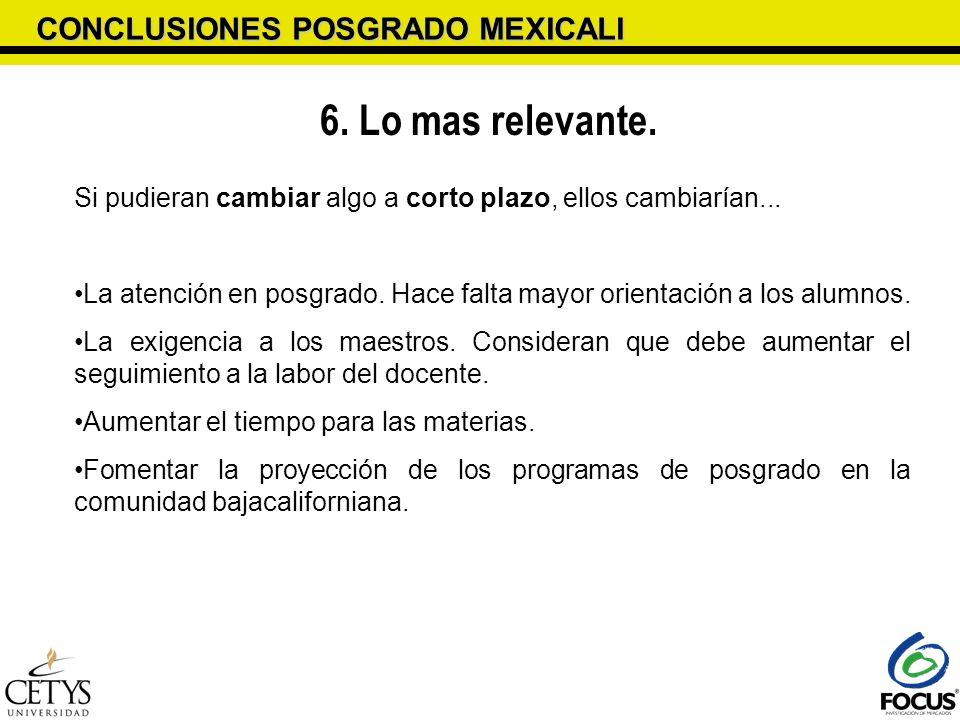 6. Lo mas relevante. CONCLUSIONES POSGRADO MEXICALI