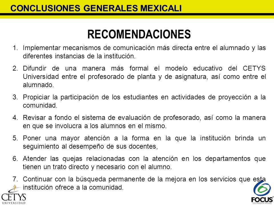 RECOMENDACIONES CONCLUSIONES GENERALES MEXICALI