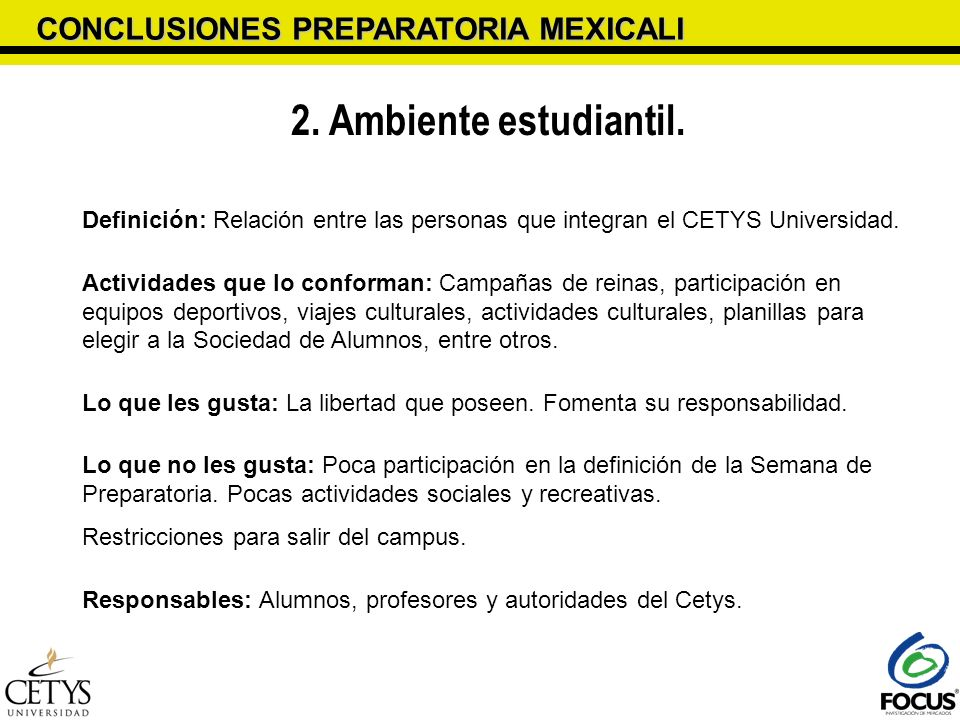 2. Ambiente estudiantil. CONCLUSIONES PREPARATORIA MEXICALI