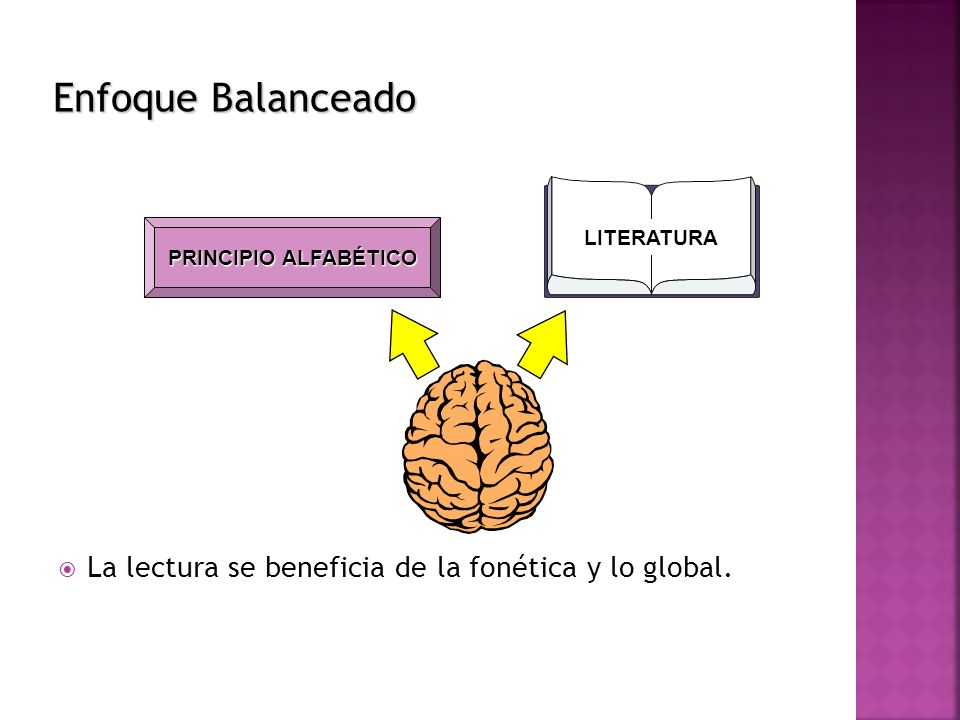 Enfoque Balanceado La lectura se beneficia de la fonética y lo global.