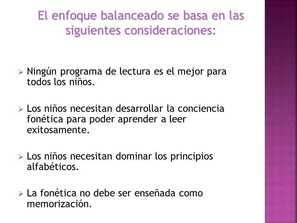 El enfoque balanceado se basa en las siguientes consideraciones: