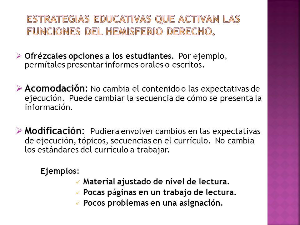 Estrategias educativas que activan las funciones del hemisferio derecho.