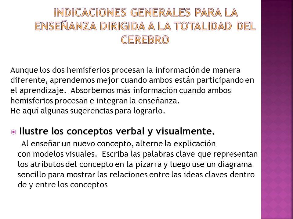 Indicaciones generales para la enseñanza dirigida a la totalidad del cerebro
