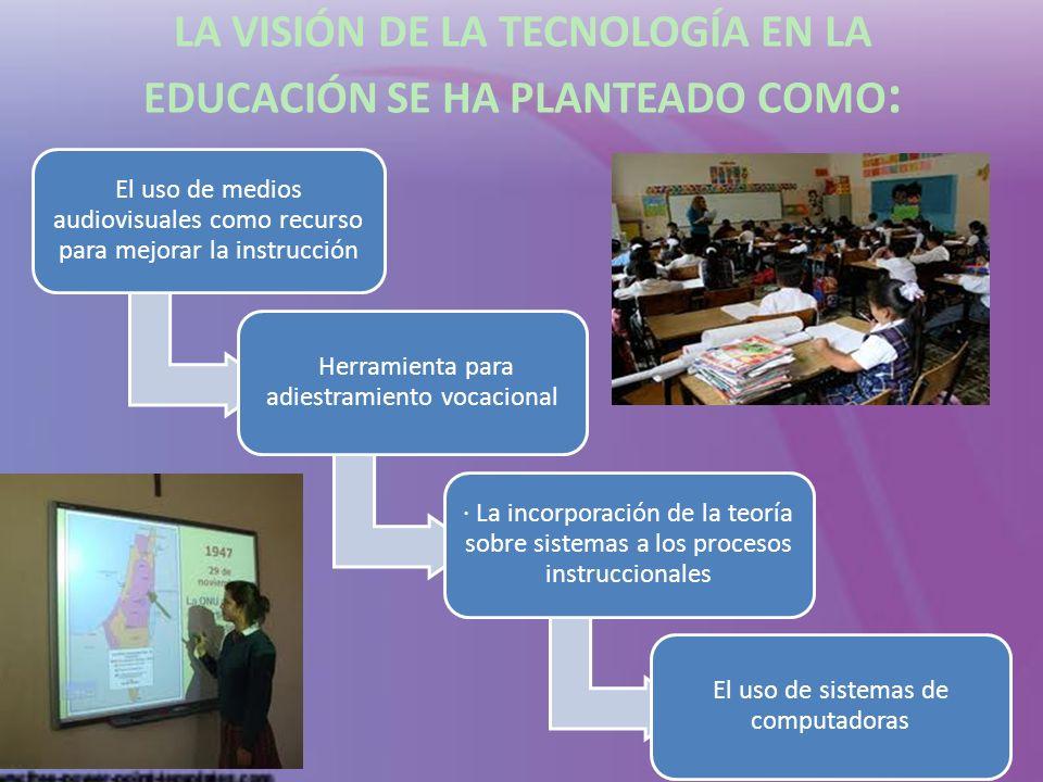 LA VISIÓN DE LA TECNOLOGÍA EN LA EDUCACIÓN SE HA PLANTEADO COMO: