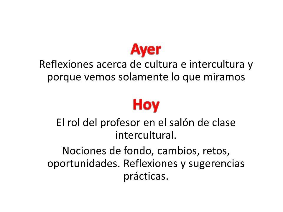 El rol del profesor en el salón de clase intercultural.