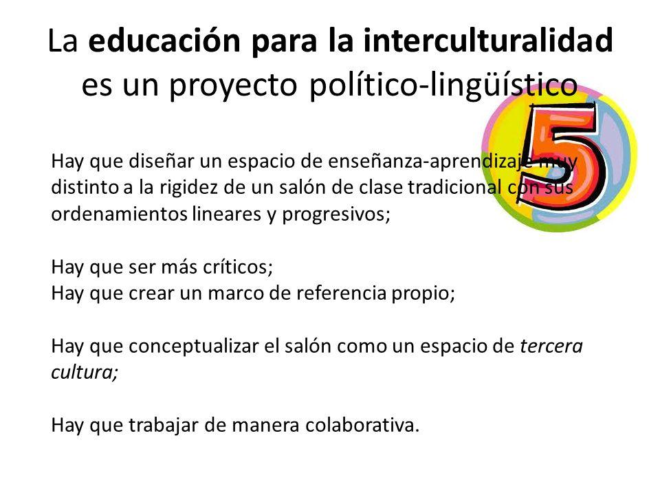 La educación para la interculturalidad es un proyecto político-lingüístico