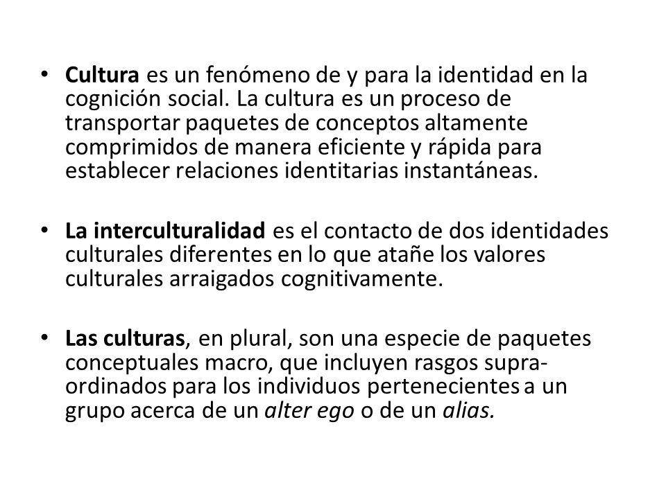 Cultura es un fenómeno de y para la identidad en la cognición social