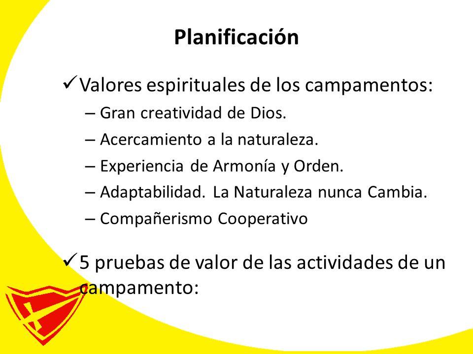 Planificación Valores espirituales de los campamentos: