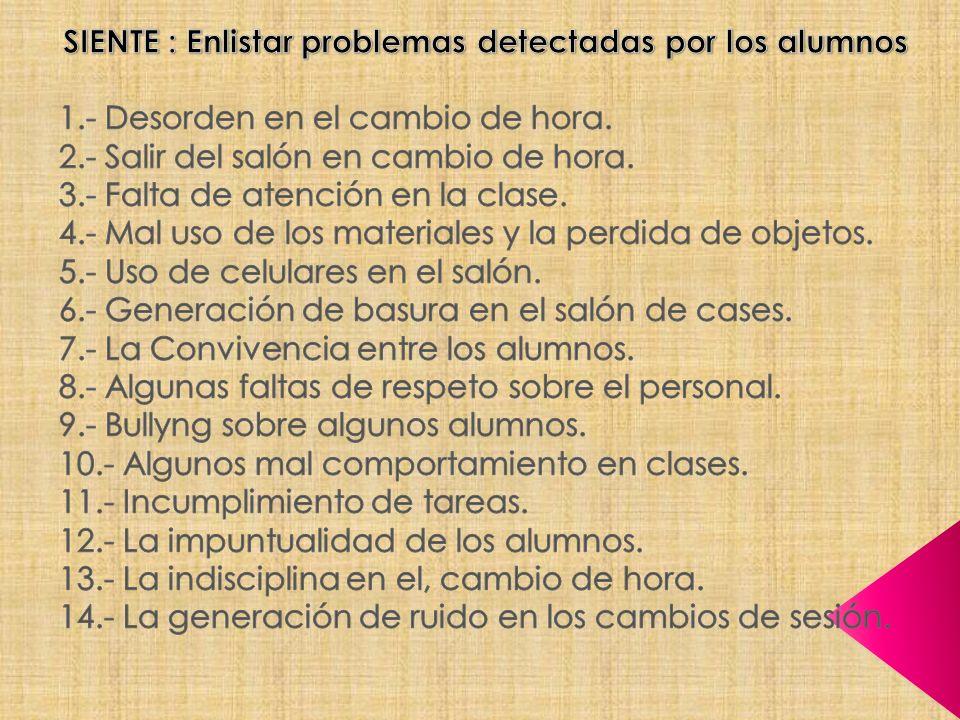 SIENTE : Enlistar problemas detectadas por los alumnos