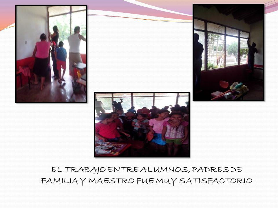 EL TRABAJO ENTRE ALUMNOS, PADRES DE FAMILIA Y MAESTRO FUE MUY SATISFACTORIO