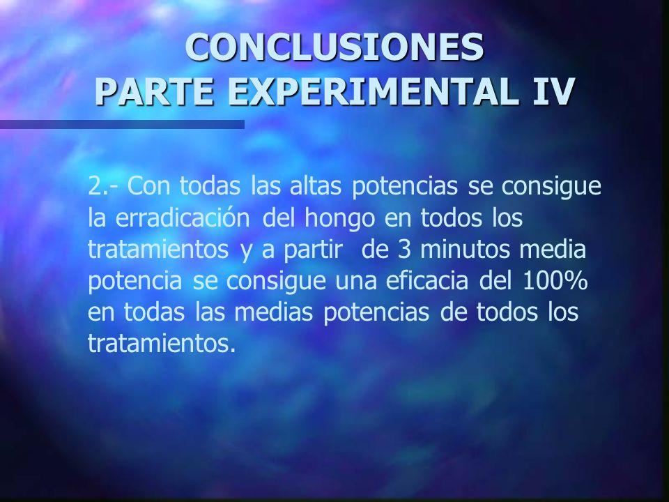 CONCLUSIONES PARTE EXPERIMENTAL IV