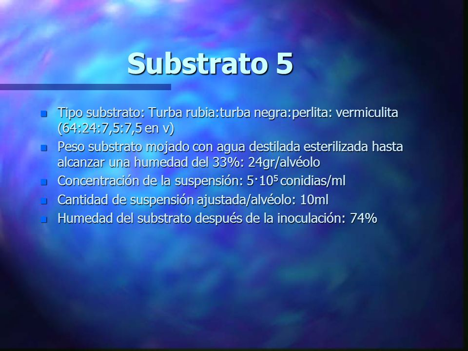 Substrato 5 Tipo substrato: Turba rubia:turba negra:perlita: vermiculita (64:24:7,5:7,5 en v)