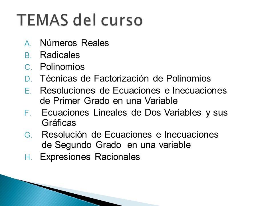 TEMAS del curso Números Reales Radicales Polinomios