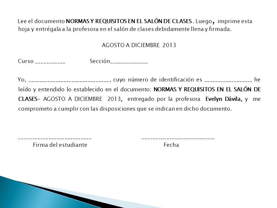 Lee el documento NORMAS Y REQUISITOS EN EL SALÓN DE CLASES