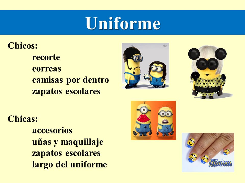 Uniforme Chicos: recorte correas camisas por dentro zapatos escolares