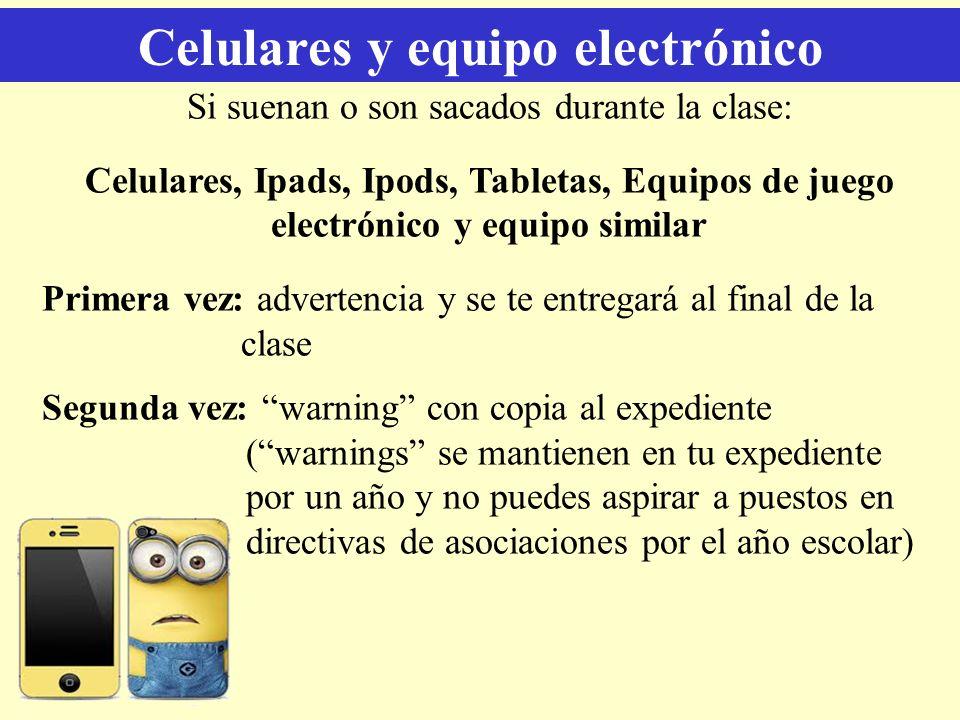 Celulares y equipo electrónico