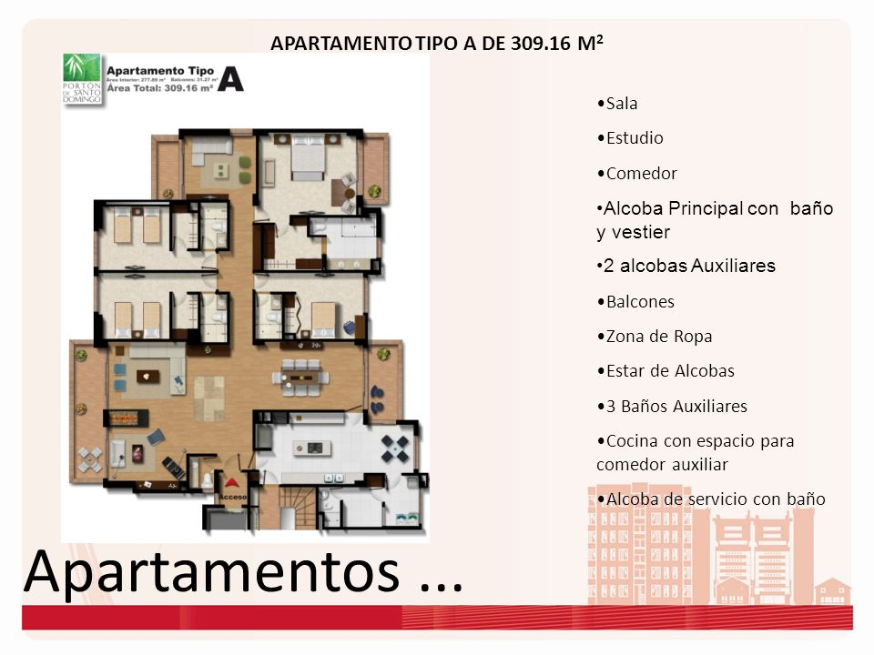 Apartamentos ... APARTAMENTO TIPO A DE 309.16 M2 Sala Estudio Comedor