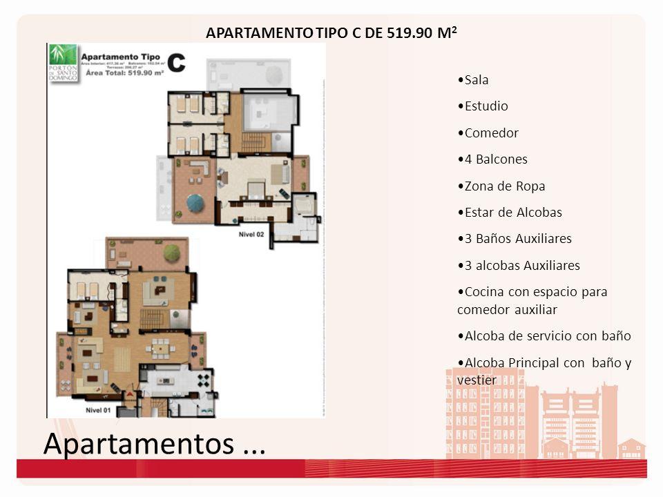 Apartamentos ... APARTAMENTO TIPO C DE 519.90 M2 Sala Estudio Comedor