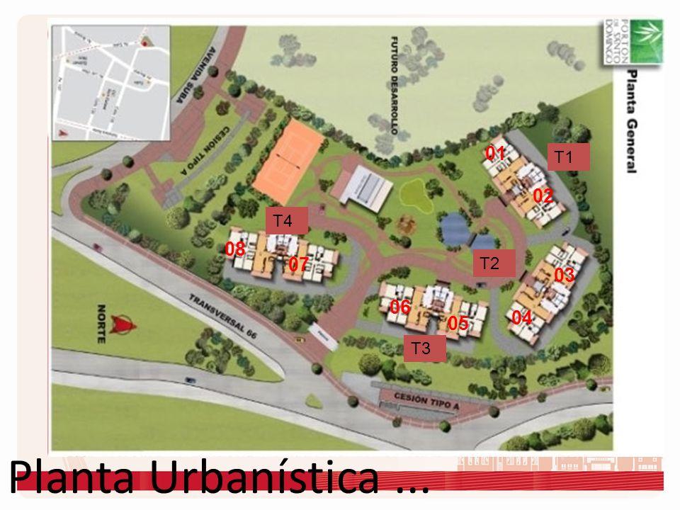01 T1 02 T4 08 07 T2 03 06 04 05 T3 Planta Urbanística ...