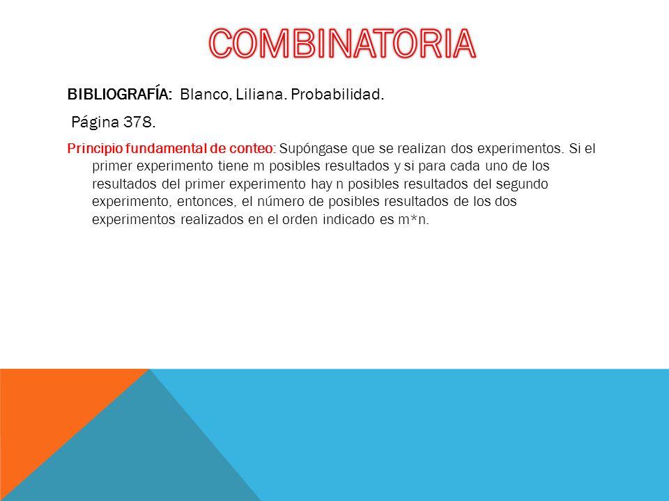 COMBINATORIA BIBLIOGRAFÍA: Blanco, Liliana. Probabilidad. Página 378.