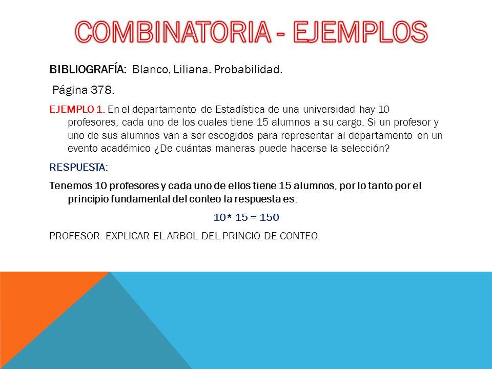 COMBINATORIA - EJEMPLOS
