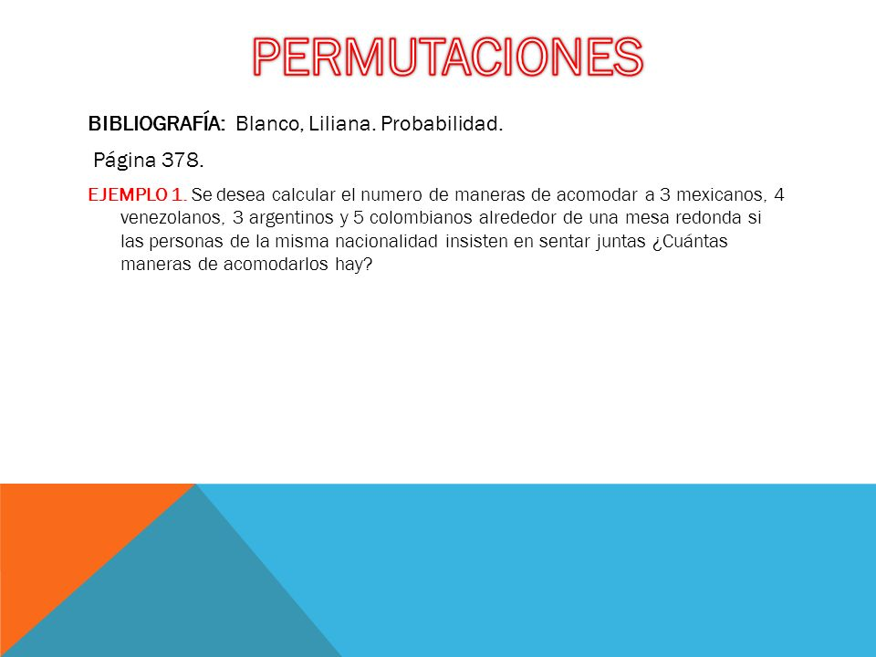 PERMUTACIONES BIBLIOGRAFÍA: Blanco, Liliana. Probabilidad. Página 378.