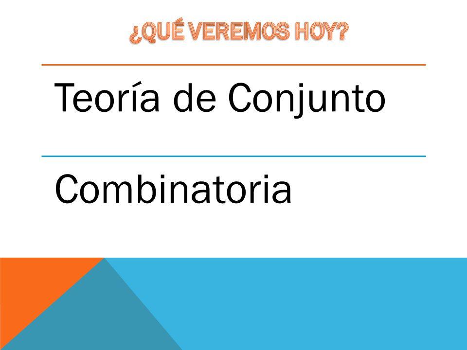 ¿QUÉ VEREMOS HOY Teoría de Conjunto Combinatoria