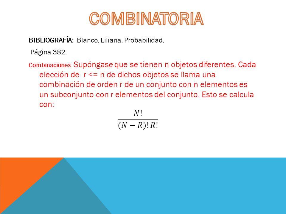 COMBINATORIA 𝑁! (𝑁−𝑅)!𝑅! BIBLIOGRAFÍA: Blanco, Liliana. Probabilidad.