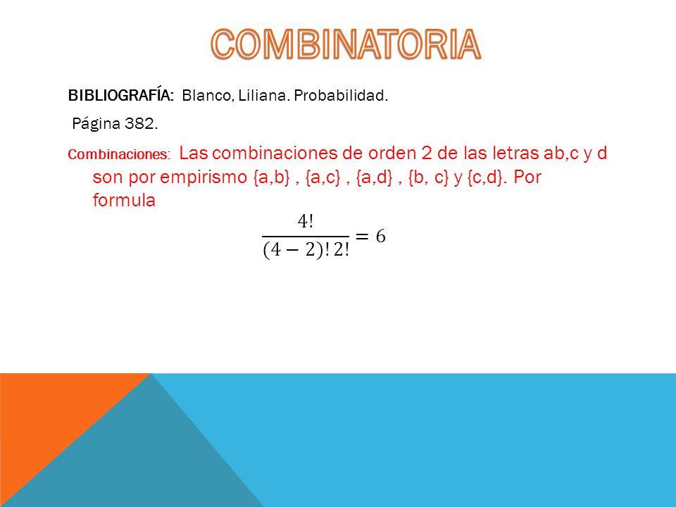 COMBINATORIA BIBLIOGRAFÍA: Blanco, Liliana. Probabilidad. Página 382.