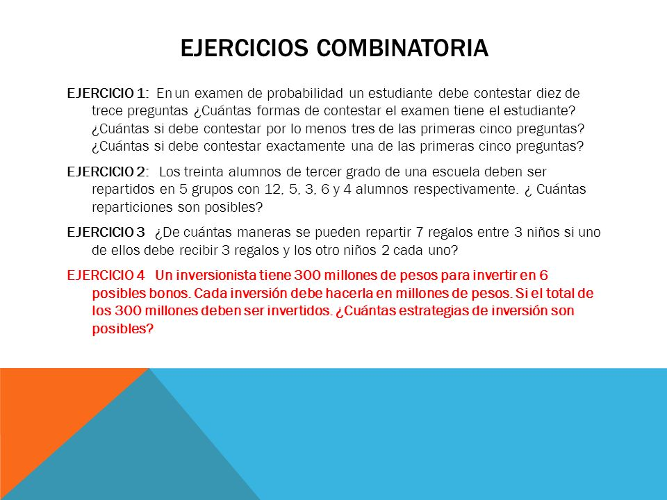 EJERCICIOS COMBINATORIA