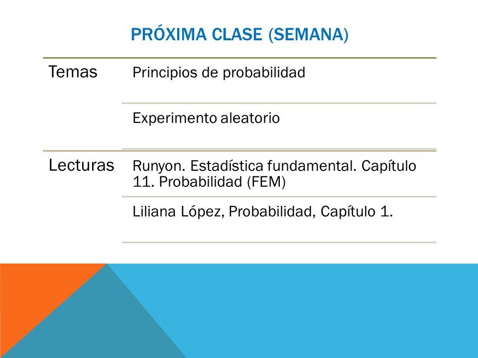 Próxima clase (semana)