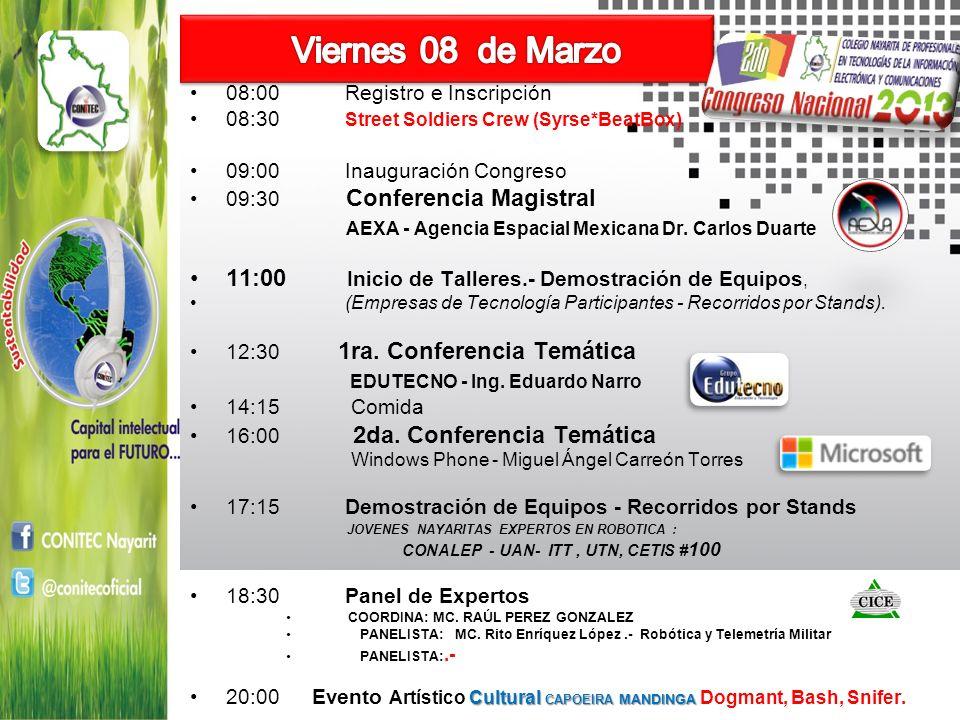 Viernes 08 de Marzo AEXA - Agencia Espacial Mexicana Dr. Carlos Duarte
