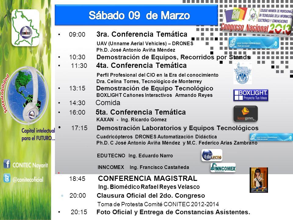 Sábado 09 de Marzo 09:00 3ra. Conferencia Temática. UAV (Unname Aerial Vehicles) – DRONES. Ph.D. José Antonio Aviña Méndez.